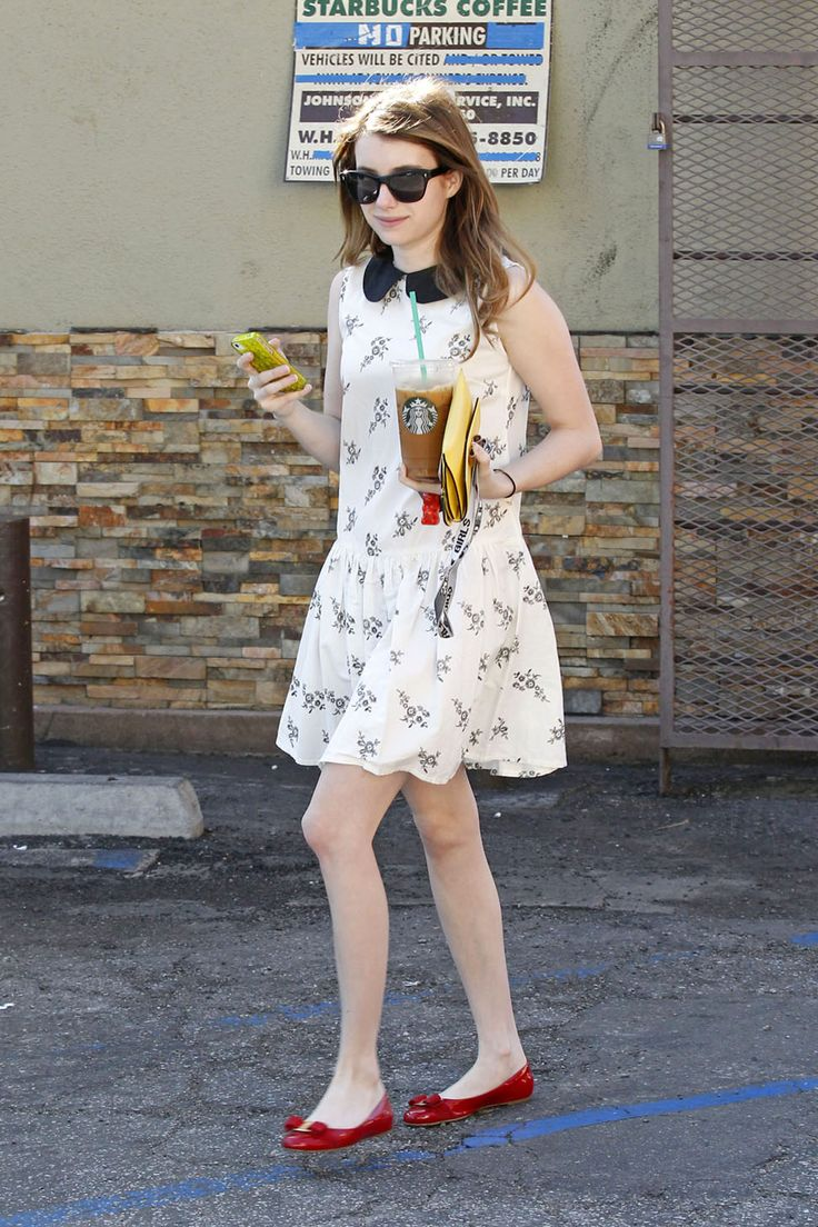 Street Style: Emma Roberts running errands in LA wearing Asos dress and Louboutin bright bow flats