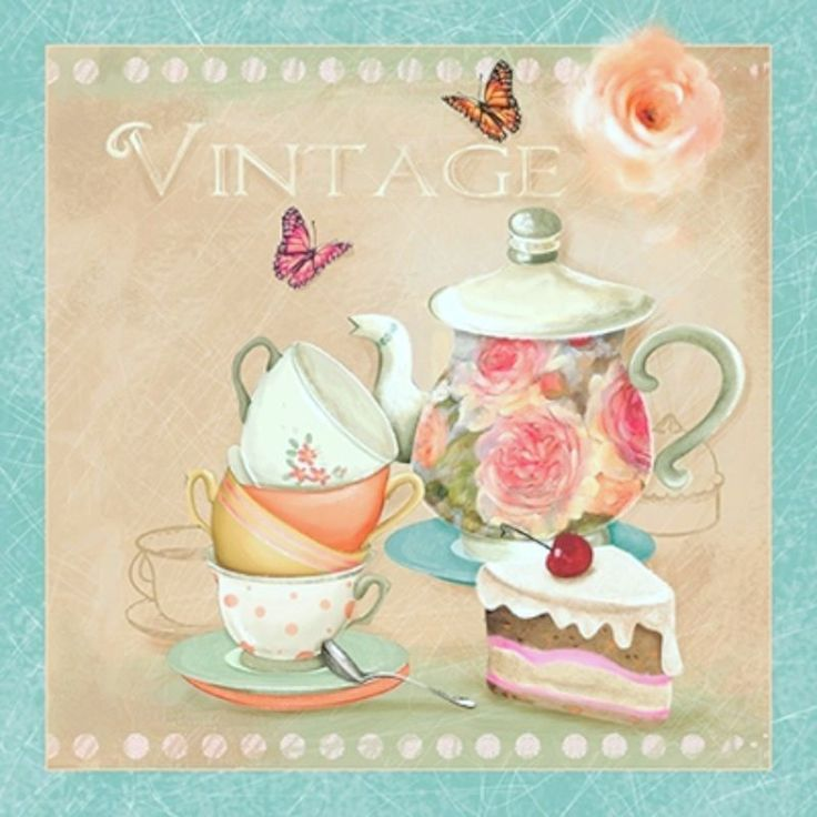 4 Single Vintage Table Paper Napkins, Lunch, for Decoupage, Teapot, Decopatch