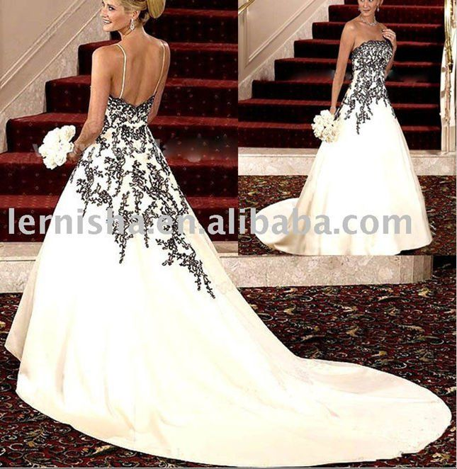 17 best images about black white wedding dresses on for Purple and ivory wedding dress