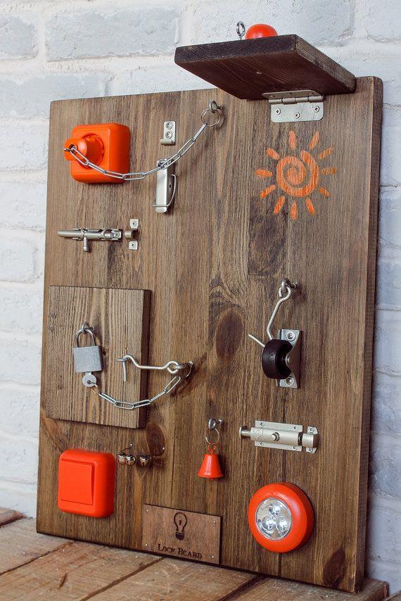 Lock Board XL Toddler Busy Board 16 elements by LockBoard on Etsy