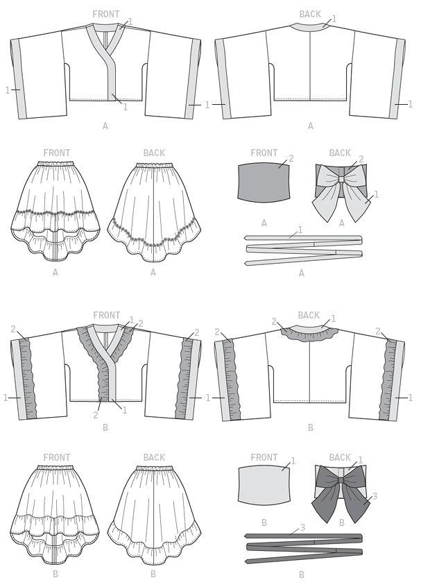 (Line Art) McCalls's M7270, Kimono Top, Skirt, Obi and Belt