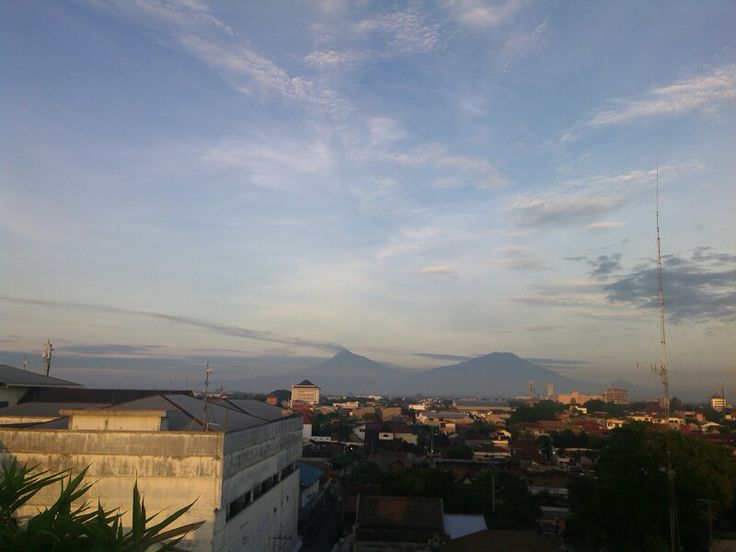 Looking sunrise at rooftop hotel solo centra java