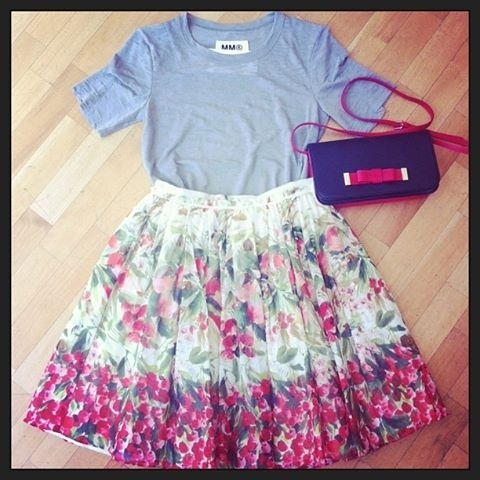 Red Valentino skirt and bag, MM6 tshirt