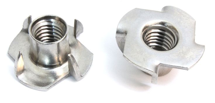 """T-Nut 3/8""""-16 x 7/16"""" Stainless Steel, (50 Pack) Choose Size/Quantity, By Bolt Dropper, Pronged Tee Nut. For Wood, Rock Climbing Holds."""