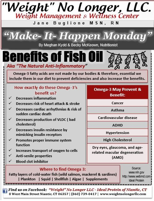 """Make It Happen Monday: Learn the Benefits of Fish Oil (Omega-3) -- Weight loss -- """"Weight"""" No Longer LLC #Fish #Oil #Benefits"""