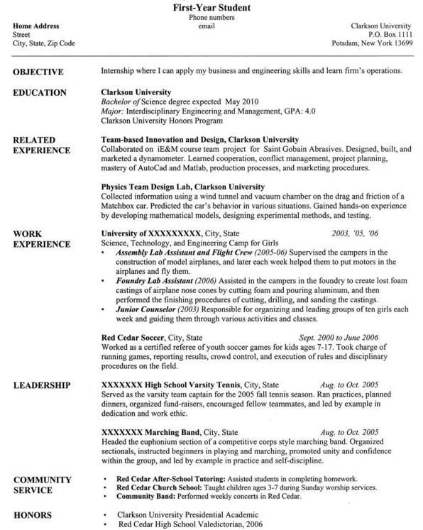 sample college student resume format