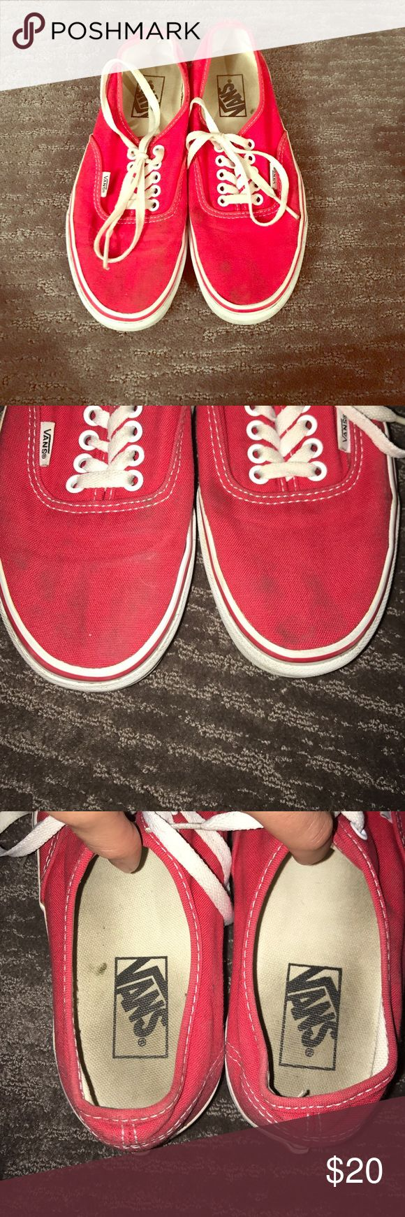Red Classic Lo Pro Vans Worn and loved classic red vans. They have been freshly washed, but do have some old muss stains on the toe area. These are super comfy and go with anything! Vans Shoes Sneakers