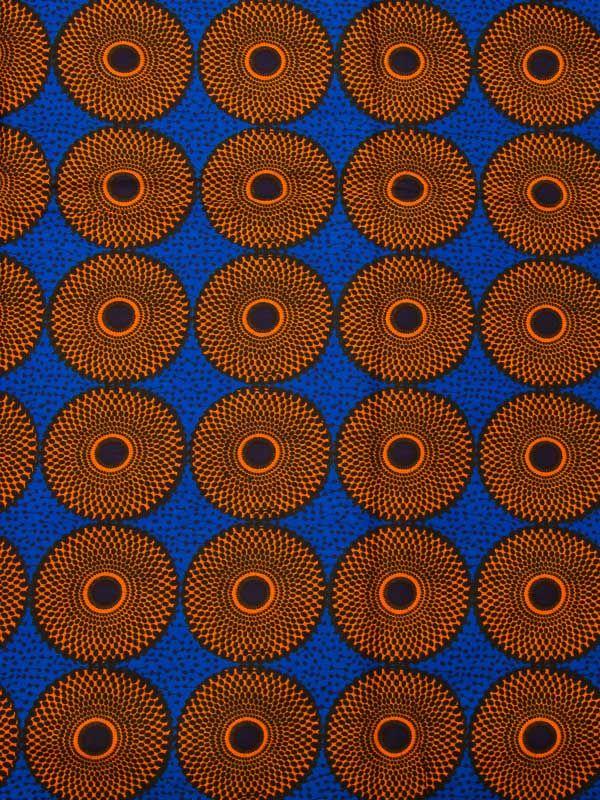 Africain Réal Wax fond bleu cercles orange noir 100% coton 6 yards