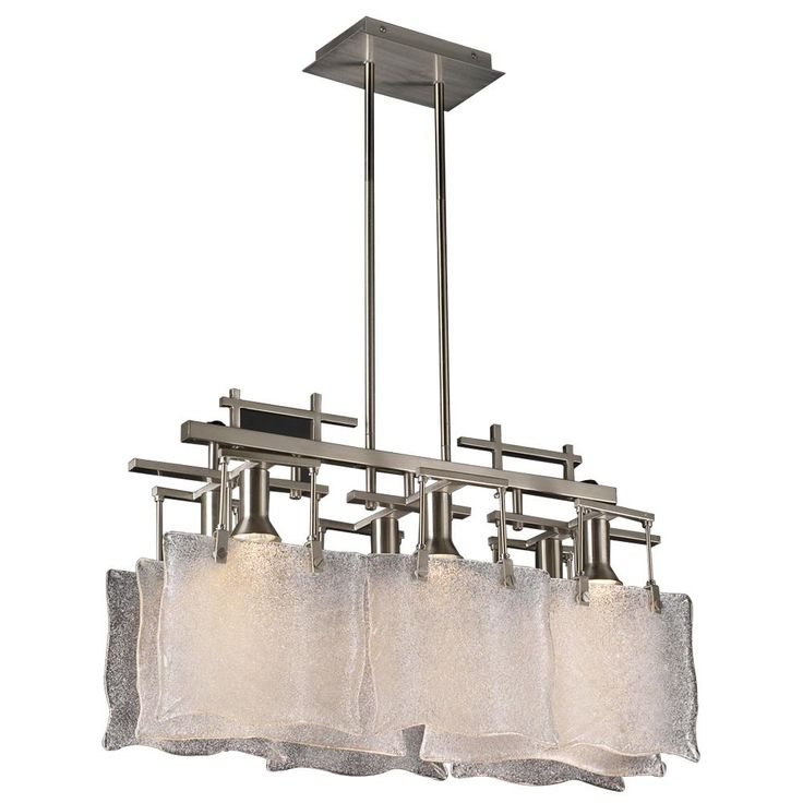 Plc Lighting 23035 Six Light Decorative Chandelier From The Carilon Collecti Satin Nickel Indoor Chandeliers