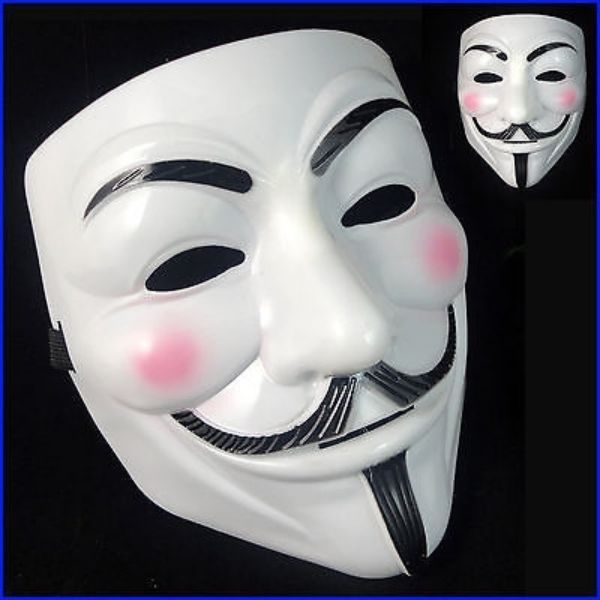 V FOR VENDETTA MASK ANONYMOUS HALLOWEEN GUY FAWKES FANCY DRESS UP ADULT COSTUME