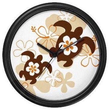 Brown Honu Wall Clock tropical clocks