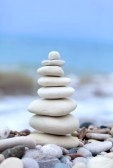 Meditation : Pyramid of stones on Cyprus beach