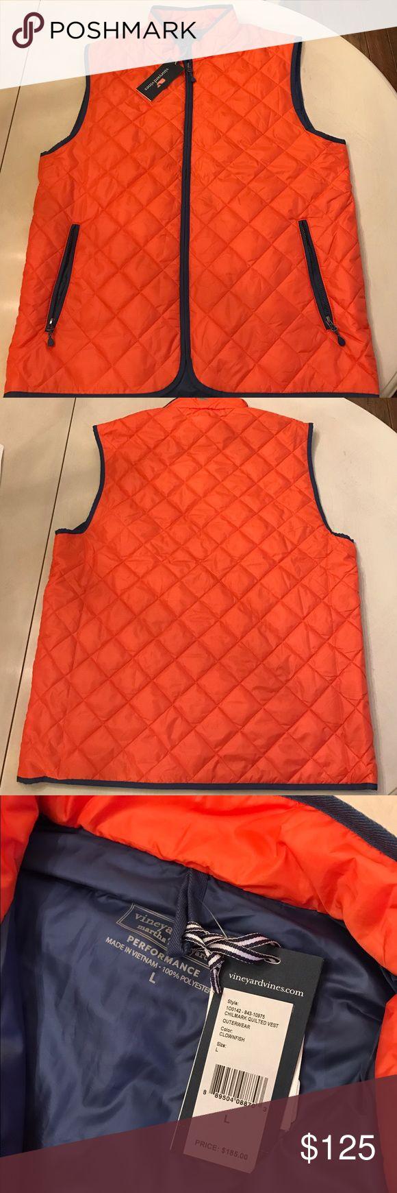 NWT Men's Vineyard Vines orange puffer vest $185 Brand new with tags men's hunter orange warm vest.  Fashionable when you hunt ! Vineyard Vines Jackets & Coats Vests