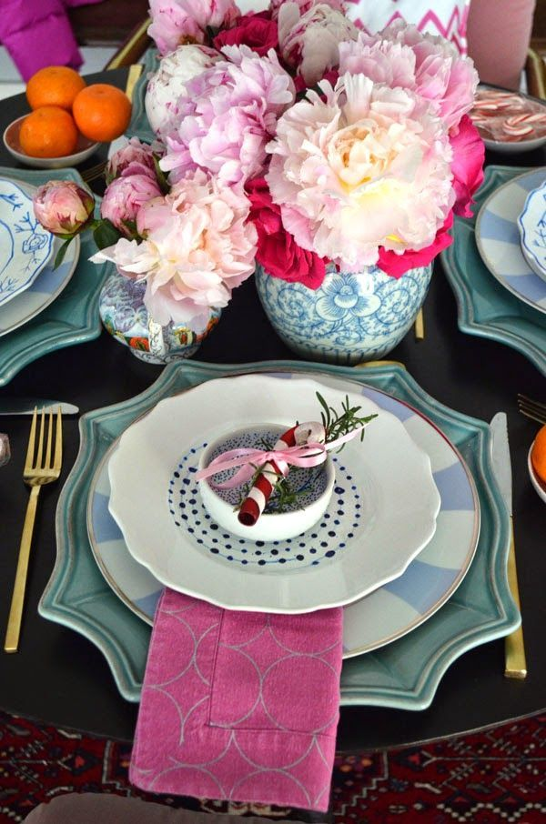 Preppy holiday table setting.