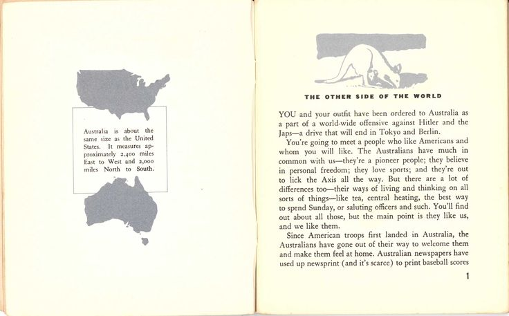 In 1942 the U. S. War and Navy Departments produced this booklet introducing Australians to   American Servicemen and Servicewomen