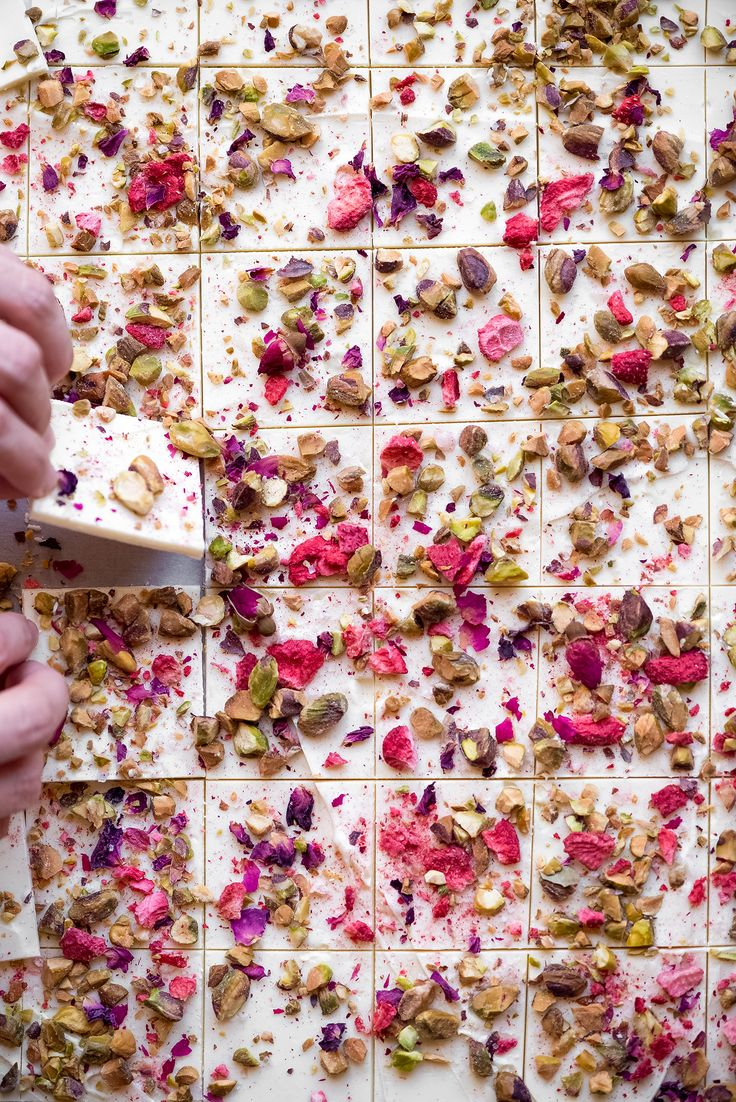 // Rose, Strawberry, & Pistachio Chocolate Bark