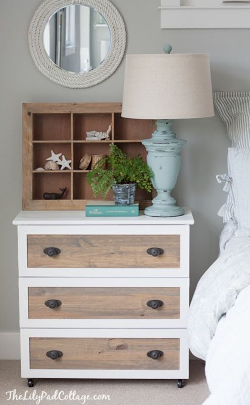 Kelly from The Lily Pad Cottage created an awesome nightstand from an Ikea piece. I kind of went bananas over this one. Again we have an awesome two-tone look with the natural wood and white border trim. The casters and hardware take it to the next level. This is a great example of how the little details really transform a piece and can set it apart from the crowd.