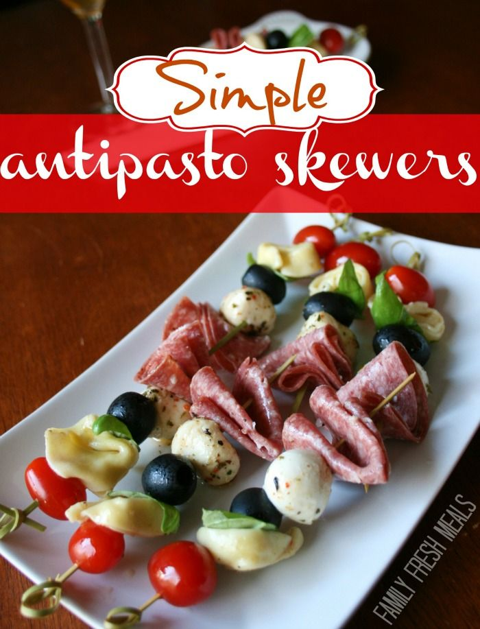 Easy Antipasto Skewers. I love how fancy this appetizer looks, but only take minutes to make!