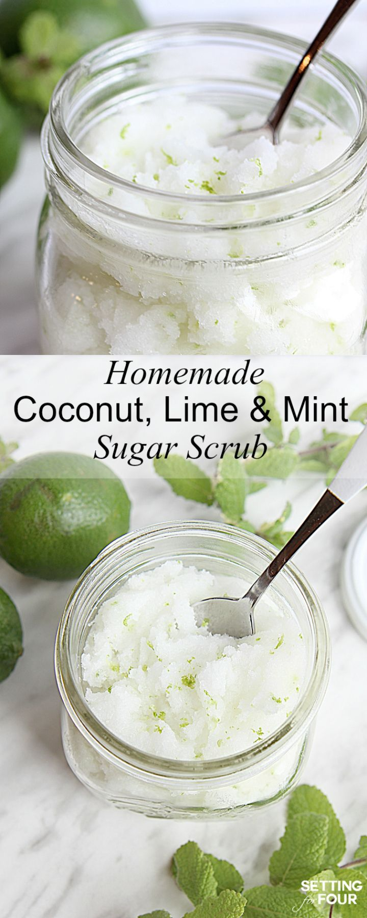 This DIY Lime Mint Sugar Scrub smells like a vacation in a jar and gets rid of dry skin in a jiffy! Great gift idea! Get the recipe here at www.settingforfour.com