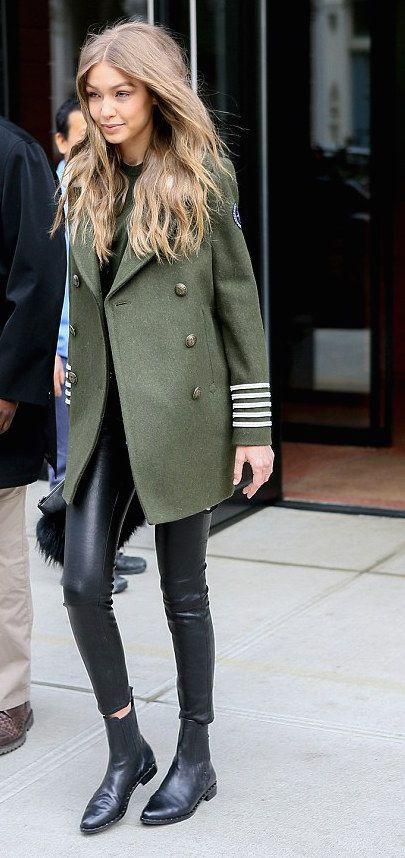 Gigi wearing TOMMYXGIGI Shearling-Collar Military …