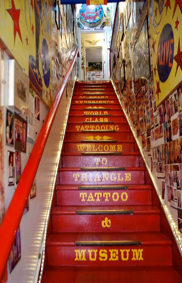 Stairs leading up to the Triangle Tattoo Museum.(Fort Bragg, CA)  Zippertravel.com Digital Edition