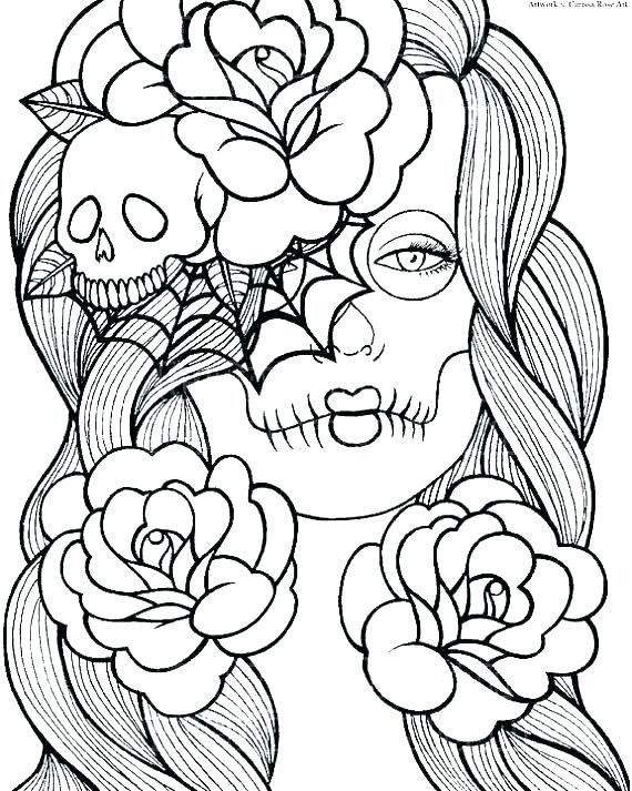 - Sugar Skull Girl Coloring Pages Sugar Skull Girls Coloring Pages In 2020 Skull  Coloring Pages, Coloring Pages, Coloring Books