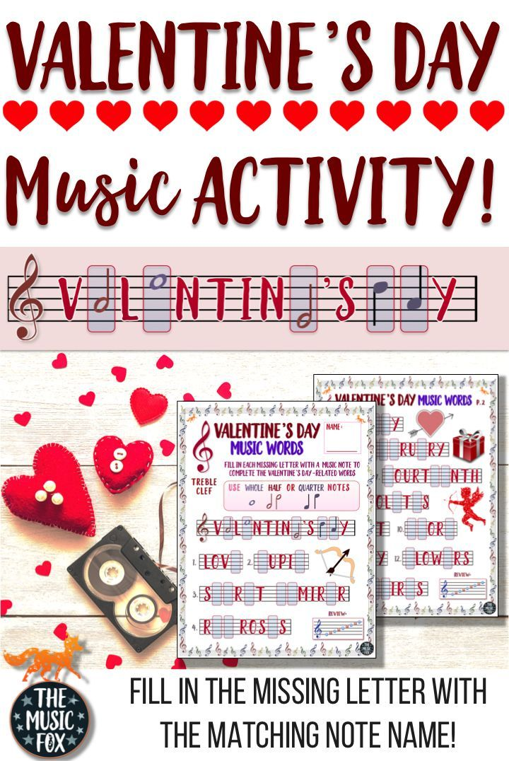 "This VALENTINE'S DAY MUSIC ACTIVITY is a fun way for students to learn the note names on the music staff by drawing in the missing letters of the musical alphabet (A-G) for 22 Valentine's Day-related words. For example, the letters A, D, and E are missing in the word ""ADORE"" (_ _ OR _) and students must draw in the corresponding music note name of the missing letters, directly onto the music staff. #TheMusicFox #Music #LessonPlans #Activity #ValentinesDay"