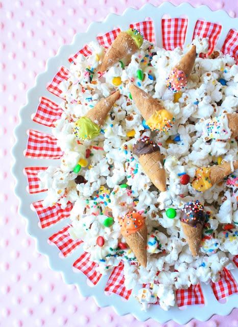 'Ice Cream' Popcorn! Cuteness! Made with popcorn, bugles, marshmallow, candies and creativity!