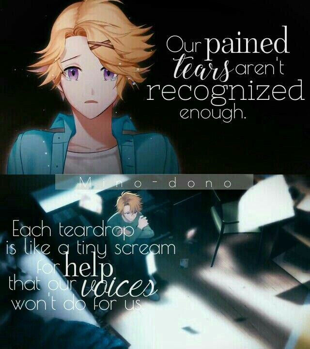 Our pained tears aren't recognized enough, each teardrop is like a tiny scream for help that our voices won't do for us, sad, text, Yoosung Kim; Mystic Messenger
