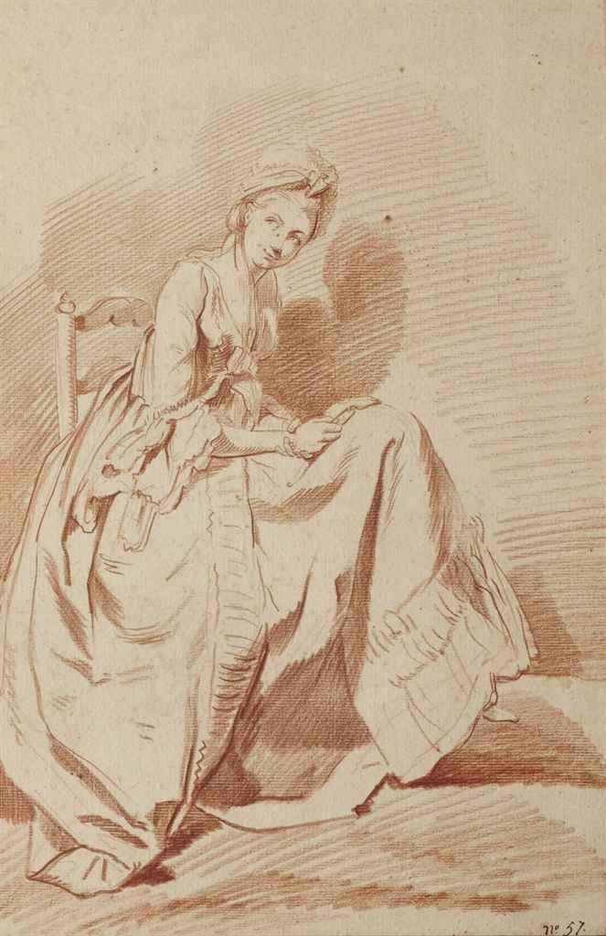 LOUIS-ROLLAND TRINQUESSE (PARIS 1745-1800)   Jeune femme assise, tournée vers la droite   18th Century, Drawings & Watercolors   Christie's