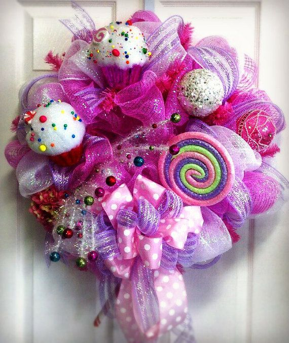 pink and lavender deco mesh wreath with by Sunshinesfloralart