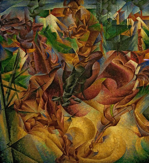 Elasticità, 1912. Umberto Boccioni (1882 - 1916) was an influential Italian painter and sculptor. He helped shape the revolutionary aesthetic of the Futurism movement as one of its principal figures.