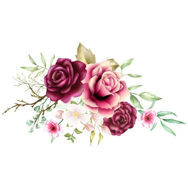 Watercolor Rose Bouquet Background Roses Clipart Rose Flower Png And Vector With Transparent Background For Free Download Watercolor Flower Illustration Flower Illustration Watercolor Rose