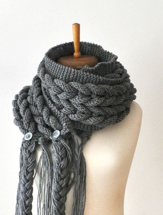 Kohle Schal - stricken Charcoal, unendlich Schal, stricken Kabel riesige Schal, Rapunzel Schal SIE können alle Farben können Sie auch als