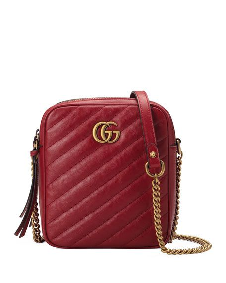 5dc1e7eca3fc24 GG Marmont Tall Chevron Leather Crossbody Bag by Gucci at Neiman Marcus