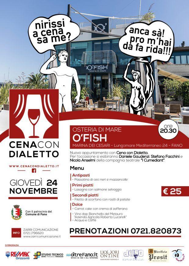 Cena con dialetto, appuntamento stasera da O'Fish presso Marina dei Cesari #dialetto #fanese #Fano #porto