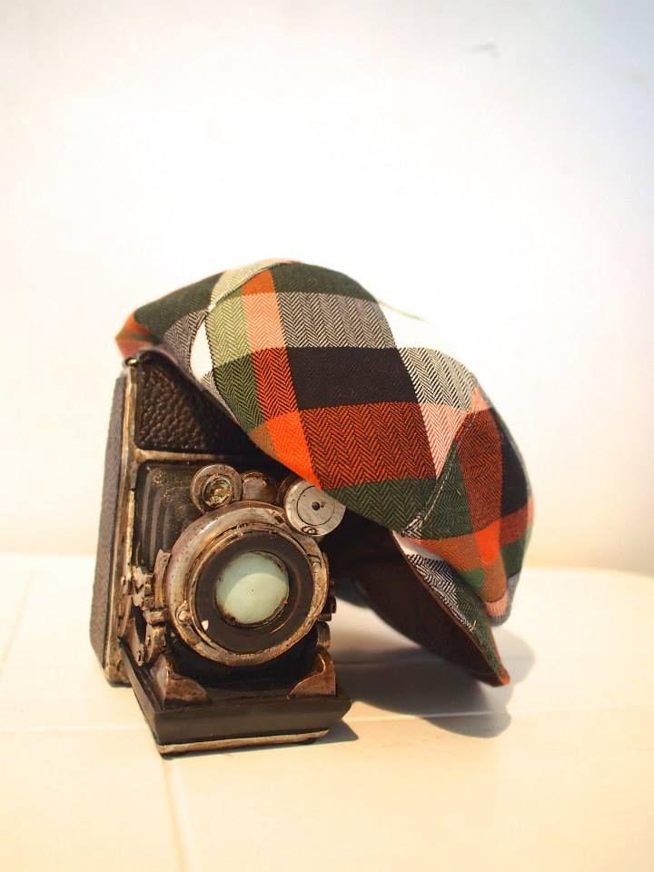 Handmade Orange Checkered Newsboy Hat.  $35