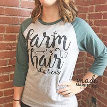 Farm Hair Don't Care Adult Raglan