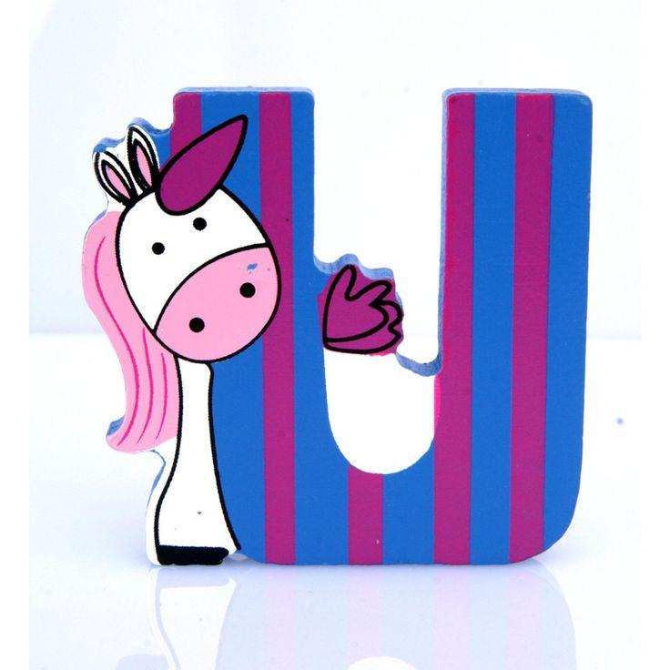 Simpatica lettera U in Legno con l'aspetto di un'Unicorno, per decorare e rendere più bella la cameretta componendo nomi, frasi. Sono disponibili tutte le lettere dell'alfabeto  Può essere appoggiata su una mensola oppure si puo' fissare con colla o biadesivo o possono anche essere utilizzate per giocare.  Dimensioni cm 7 x 7 x 1  Materiale: Legno.   I colori possono cambiare in base alle disponibilita'