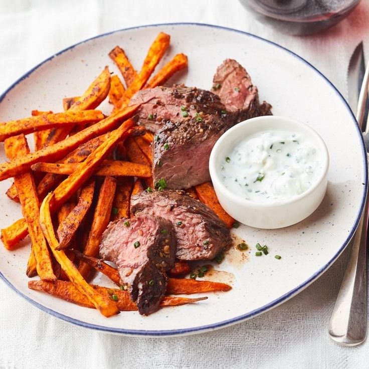 Montreal-Style Steak & Sweet Potato Fries = New-world steak frites #DinnerTonight