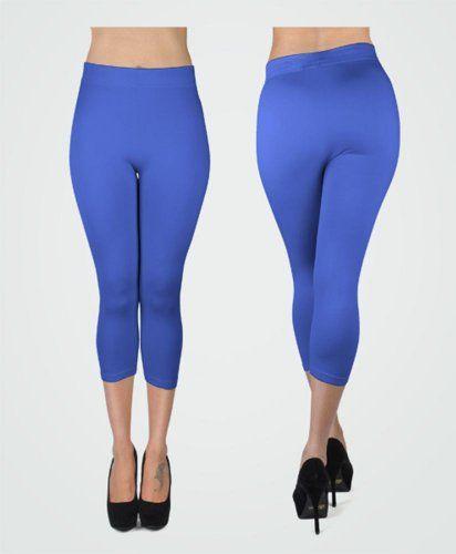 New Women's Royale Blue Solid Capri Leggings « Clothing Impulse