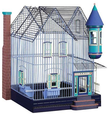 """6 / 10 It's not exactly a gilded cage, but this handsome Victorian birdhouse is a few steps up from the standard. The """"Featherstone Heights"""" collection for small birds also includes a classic brownstone, a Cape Cod, a Tudor and a cottage. wag.com, $80.49."""