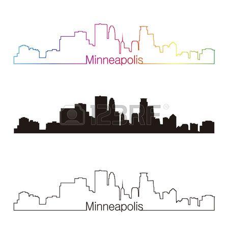 Minneapolis skyline linear style with rainbow in editable vector file Stock Vector