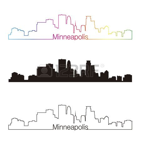 Minneapolis skyline linear style with rainbow in editable vector file Stock Vector