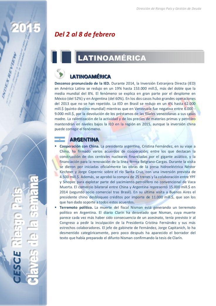 Resumen de las noticias internacionales más destacadas del 2 al 8 de febrero de 2015, elaborado por el departamento de Riesgo País de CESCE