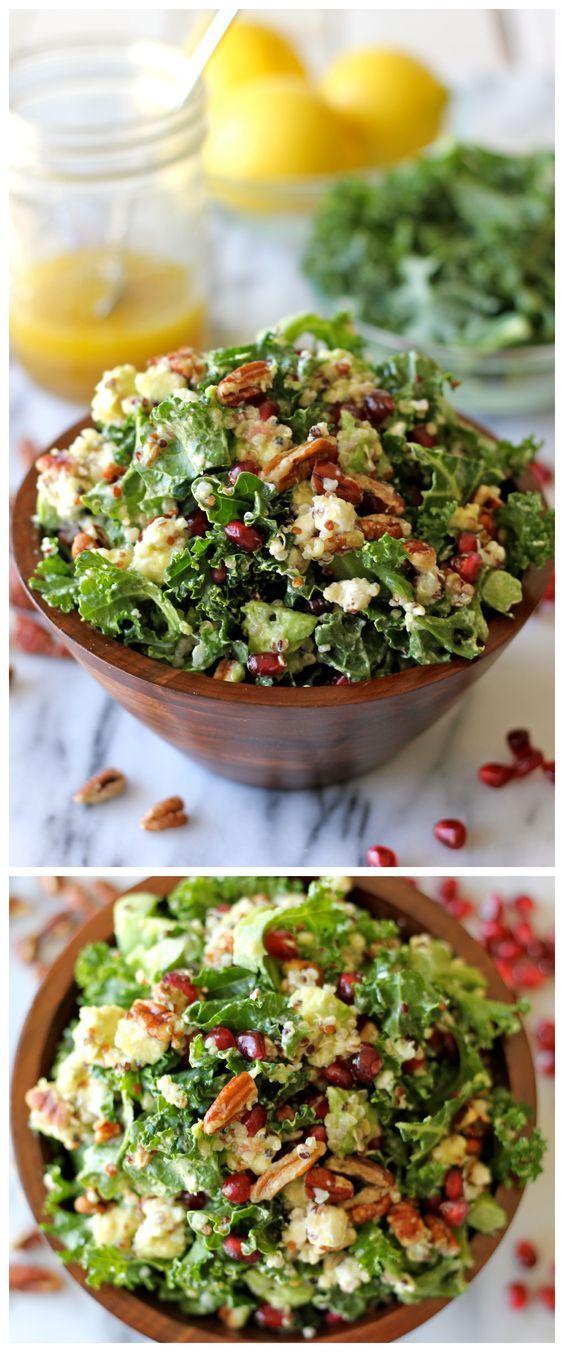 Kale Salad with Meyer Lemon Vinaigrette, Pecans, Goat Cheese, Quinoa, Pomegranate Seeds, and Avocado