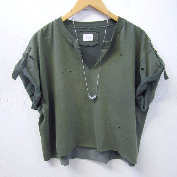 UPCYCLED Bleached Top. Distressed Vintage T-Shirt. Army Green Crop... (£34) ❤ liked on Polyvore featuring tops, shirts, vintage tops, distressed shirt, vintage shirts, vintage crop top and olive crop top