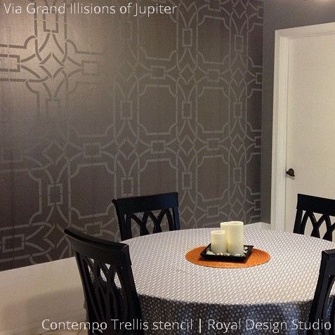 Contempo Trellis stencil pattern from Royal Design Studio - Oriental design with metallic gold paint for decorative walls
