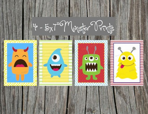 """4 Cute Monster Art Prints - 5x7"""" size for child's room. Adorable for a little boy's bedroom or nursery. Monster decorations."""