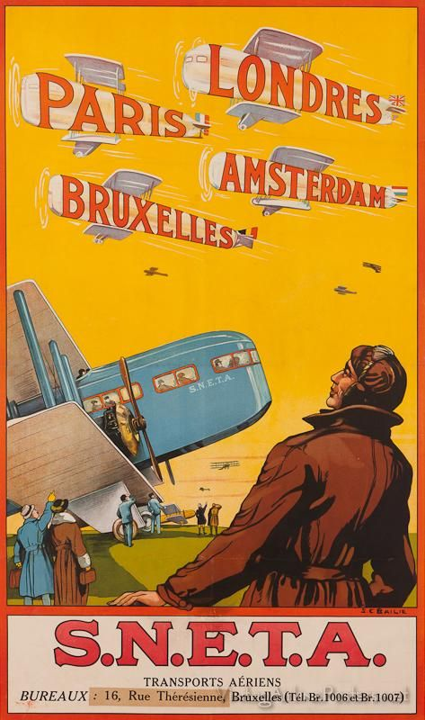 Vintage travel poster promoting SNETA (Syndicat National d'Etude du Transport Aérienne), a former Belgian airline which commenced operations in 1919, pioneering commercial aviation in Belgium. It ceased operation in 1923 and merged into the newly founded national carrier SABENA.